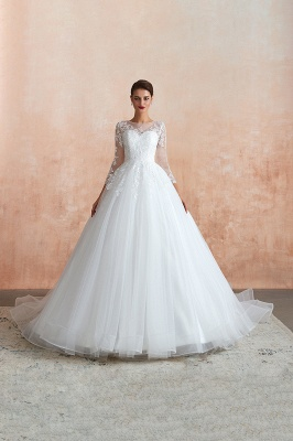 Canace | Romantic Long sleeves Lace Ball Gown Wedding Dress, Fully covered Buttons Bridal Gowns with Court Train_6
