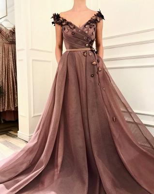 Impresionante vestido de fiesta marrón | Vestidos de noche con cuello en V y vestidos de fiesta_3