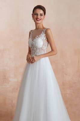 Caltha   Beautiful Bateau neck White Wedding Dress with Sparkling Sequins, Babyonlinedress Design Lace Bridal Gowns_3