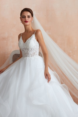Camille | White Ball Gown Wedding Dress with Chapel Train, Spaghetti Strap See-through Lace up Bridal Gowns for Sale_7
