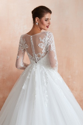 Canace | Romantic Long sleeves Lace Ball Gown Wedding Dress, Fully covered Buttons Bridal Gowns with Court Train_3