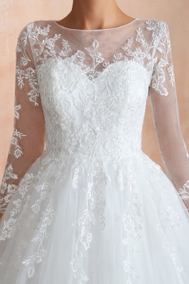 Canace | Romantic Long sleeves Lace Ball Gown Wedding Dress, Fully covered Buttons Bridal Gowns with Court Train_4