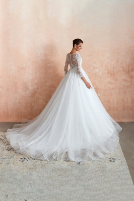 Canace | Romantic Long sleeves Lace Ball Gown Wedding Dress, Fully covered Buttons Bridal Gowns with Court Train_5