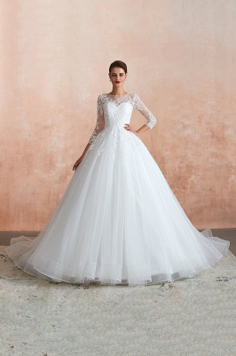Canace | Romantic Long sleeves Lace Ball Gown Wedding Dress, Fully covered Buttons Bridal Gowns with Court Train_12
