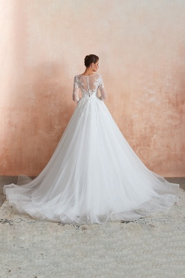 Canace | Romantic Long sleeves Lace Ball Gown Wedding Dress, Fully covered Buttons Bridal Gowns with Court Train_11