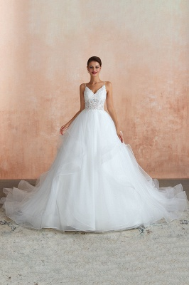 Camille | White Ball Gown Wedding Dress with Chapel Train, Spaghetti Strap See-through Lace up Bridal Gowns for Sale_9