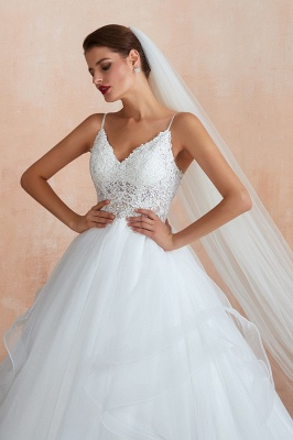 Camille | White Ball Gown Wedding Dress with Chapel Train, Spaghetti Strap See-through Lace up Bridal Gowns for Sale_11
