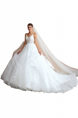 Camille | White Ball Gown Wedding Dress with Chapel Train, Spaghetti Strap See-through Lace up Bridal Gowns for Sale_1