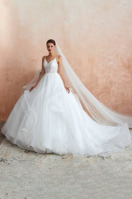Camille | White Ball Gown Wedding Dress with Chapel Train, Spaghetti Strap See-through Lace up Bridal Gowns for Sale_10