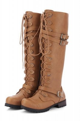 Military Womens Knee length Lace Up Fashion Combat Boots in Brown, Black_2