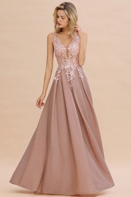 Rebacca | A-Line V-neck Floor-Length Tulle Sequined Prom Dresses_1