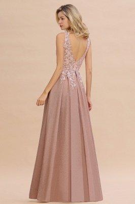 Rebacca | A-Line V-neck Floor-Length Tulle Sequined Prom Dresses_19