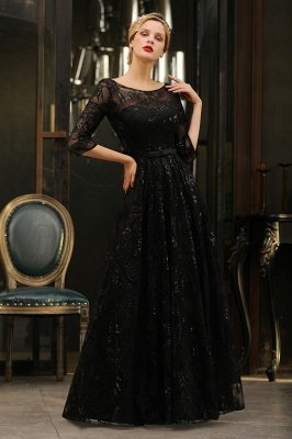 Acacia | Scoop neck Long Sleeves Black Prom Dresses with Sparkly Floral Designs_9