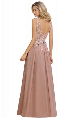 Rebacca | A-Line V-neck Floor-Length Tulle Sequined Prom Dresses_16