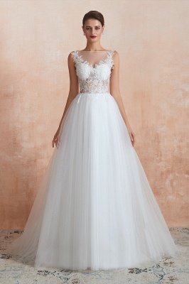 Caltha | Beautiful Bateau neck White Wedding Dress with Sparkling Sequins, Babyonlinedress Design Lace Bridal Gowns_10