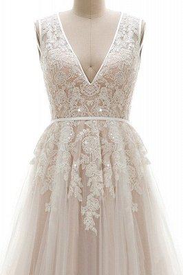 Elegant V-Neck Lace Appliques A-line Wedding Dress Tulle Evening party Dress_4
