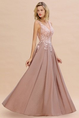 Rebacca | A-Line V-neck Floor-Length Tulle Sequined Prom Dresses
