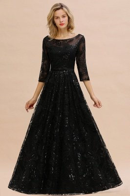 Acacia | Scoop neck Long Sleeves Black Prom Dresses with Sparkly Floral Designs_5