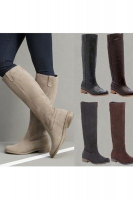 Brown, Taupe, Apricot, Black, Gray Round Toe Flats Slouch Boots with Kitten Heel