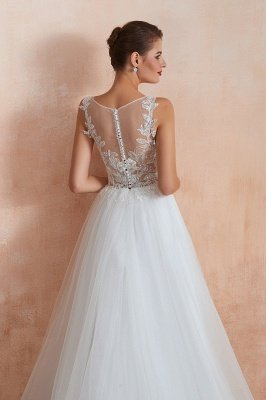 Caltha | Beautiful Bateau neck White Wedding Dress with Sparkling Sequins, Babyonlinedress Design Lace Bridal Gowns_2