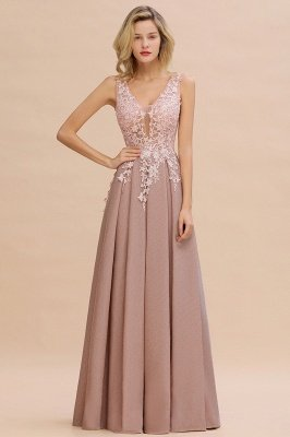 Rebacca | A-Line V-neck Floor-Length Tulle Sequined Prom Dresses_17