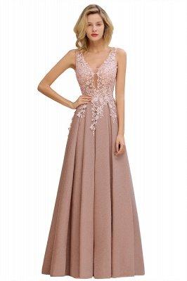 Rebacca | A-Line V-neck Floor-Length Tulle Sequined Prom Dresses_14