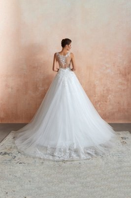 Carly | Sexy Pluging V-neck Ball Gown Wedding Dress with Chapel Train, Affordable Bridal Gowns with see-through Lace Back_5