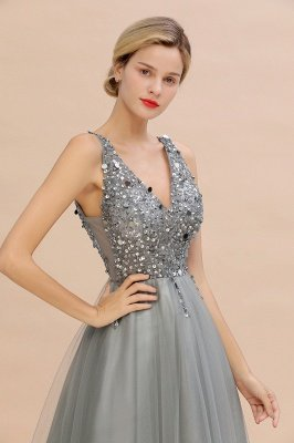 Abina | Sexy V-neck Sparkly Beaded Low Back Prom Dress with Gemstones_18