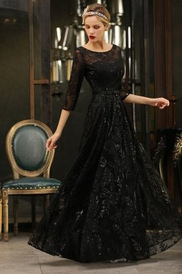 Acacia | Scoop neck Long Sleeves Black Prom Dresses with Sparkly Floral Designs_8