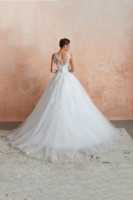 Cain   Illusion Neck White Wedding Dress with exqusite Lace Appliques, Sleeveless V-back Bridal Gowns Online_3