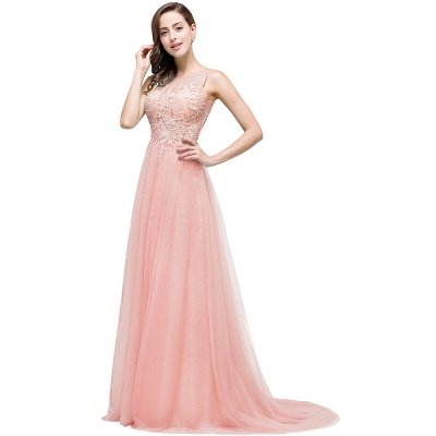 ABRIL | A-line Court Train Tulle Evening Dress with Appliques_1