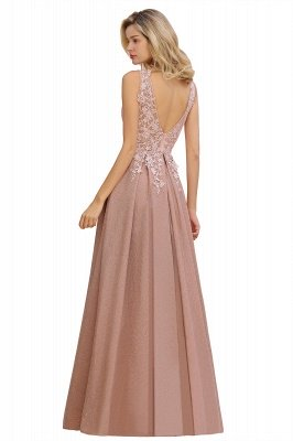 Rebacca | A-Line V-neck Floor-Length Tulle Sequined Prom Dresses_20