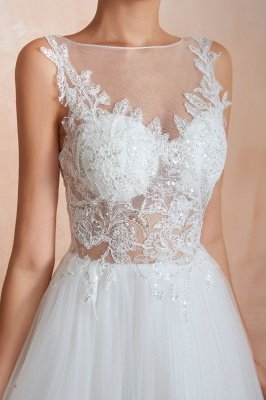 Caltha | Beautiful Bateau neck White Wedding Dress with Sparkling Sequins, Babyonlinedress Design Lace Bridal Gowns_4