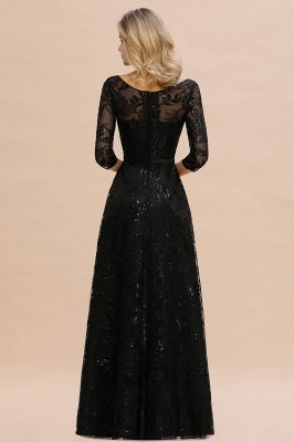 Acacia | Scoop neck Long Sleeves Black Prom Dresses with Sparkly Floral Designs_4