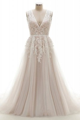 Elegant V-Neck Lace Appliques A-line Wedding Dress Tulle Evening party Dress