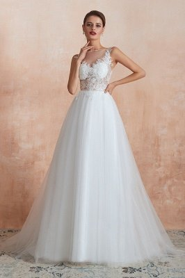 Caltha | Beautiful Bateau neck White Wedding Dress with Sparkling Sequins, Babyonlinedress Design Lace Bridal Gowns_5