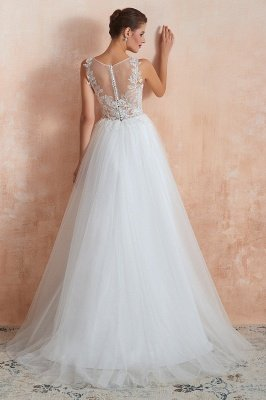 Caltha | Beautiful Bateau neck White Wedding Dress with Sparkling Sequins, Babyonlinedress Design Lace Bridal Gowns_9