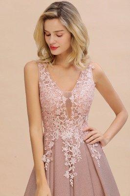 Rebacca | A-Line V-neck Floor-Length Tulle Sequined Prom Dresses_9