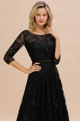 Acacia | Scoop neck Long Sleeves Black Prom Dresses with Sparkly Floral Designs_3
