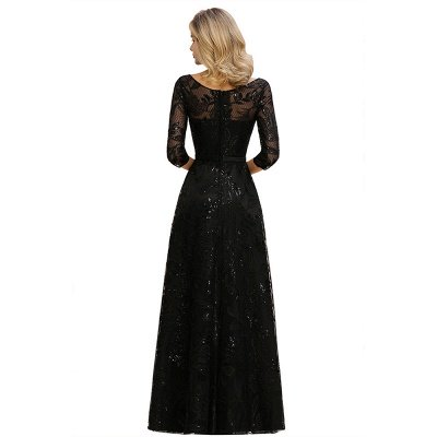 Acacia | Scoop neck Long Sleeves Black Prom Dresses with Sparkly Floral Designs_13