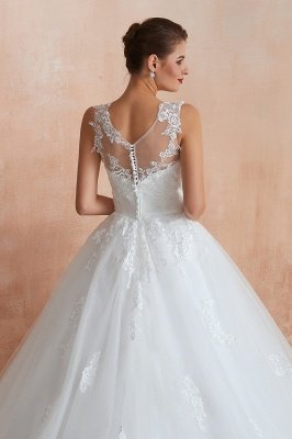 Cain   Illusion Neck White Wedding Dress with exqusite Lace Appliques, Sleeveless V-back Bridal Gowns Online_6