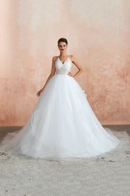 Carmen | Simple Halter Ball Gown Wedding Dress with Chapel Train, Open Back V-neck Lace Bridal Gowns For Summer/Fall Wedding