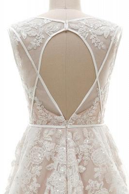 Elegant V-Neck Lace Appliques A-line Wedding Dress Tulle Evening party Dress_5