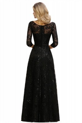 Acacia | Scoop neck Long Sleeves Black Prom Dresses with Sparkly Floral Designs_15