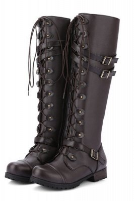 Military Womens Knee length Lace Up Fashion Combat Boots in Brown, Black_1
