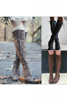 Brown, Black, Gray Thigh Tie Boots | Thigh Tie Boots for Fall and Winter