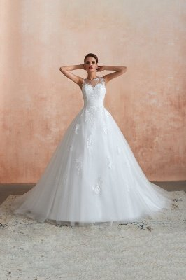 Cain   Illusion Neck White Wedding Dress with exqusite Lace Appliques, Sleeveless V-back Bridal Gowns Online_12