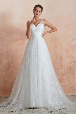 Calandra | Elegant White V-neck Princess Wedding Dress, Cheap Babyonlinedress Design Bridal Gowns on Sale