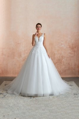 Carly | Sexy Pluging V-neck Ball Gown Wedding Dress with Chapel Train, Affordable Bridal Gowns with see-through Lace Back_7