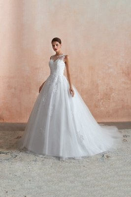 Cain   Illusion Neck White Wedding Dress with exqusite Lace Appliques, Sleeveless V-back Bridal Gowns Online_9
